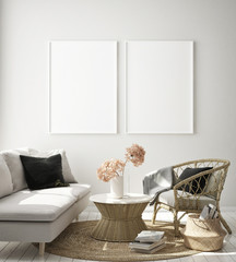 mock up poster frame in modern interior background, Scandinavian style, 3D render, 3D illustration