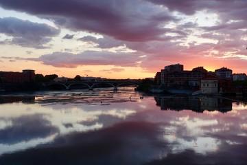 Poster Bordeaux Purple sunset reflections