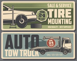 Tire mounting and tow truck service