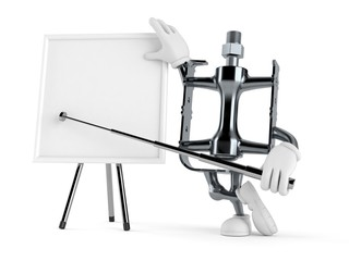 Bicycle pedal character with blank whiteboard