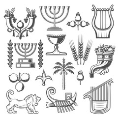 Israel culture and judaism religion vector icons