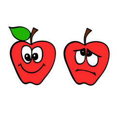 Two red apples with smile