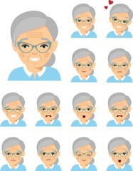 Set of different european avatar old women in colorful flat style. Collection of various emotion expression avatar age female happy, angry, sad, funny.