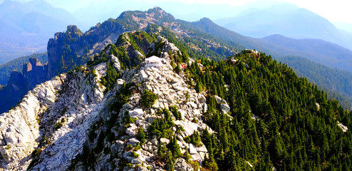 Hiker's Lookout On Top Of Rocky Peak With Pine Forest - Mount Pilchuck Lookout, Washington, USA