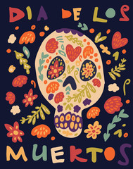 Hand drawn vector illustration of sugar skull with floral decorations to celebrate Dia de Los Muertos (Day of the Dead) in mexican tradition. Vector illustration for card print.