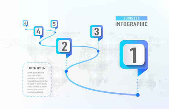 Timeline infographic 6 milestone like a road. Business concept infographic template. Vector illustration