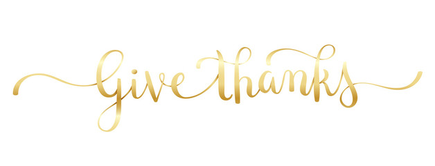 Wall Mural - GIVE THANKS gold brush calligraphy banner