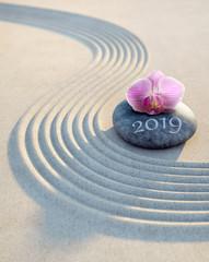 Wall Mural - Orchidee auf Stein im Sand 2019