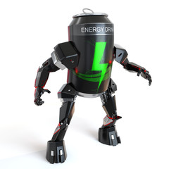 energy drink can robot