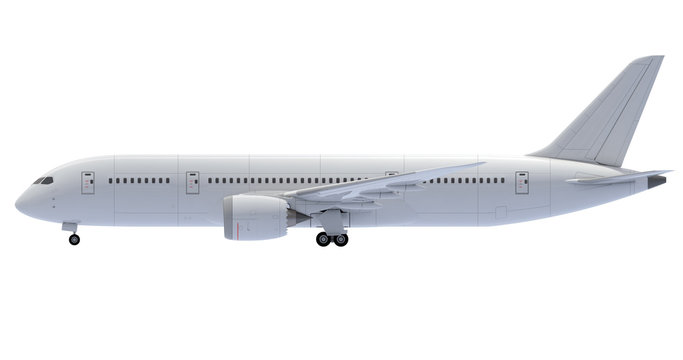 Commercial jet plane. 3D render. Left Side view