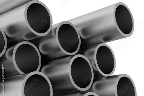 Metal pipe  3d rendering illustration isolated on white