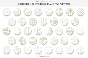 Collection of seamless ornamental patterns - oriental design. Vector geometric repeatable backgrounds.