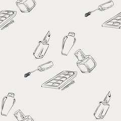 """Pattern """"Makeup"""". Pattern of items for makeup, suitable for bright paper or box designs."""