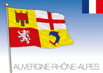 Auvergne Rhône Alpes regional flag, France, vector illustration