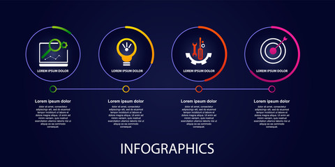 Dark vector illustration 3D. Infographic template with four elements, circles, text and icons. Timeline step by step. Designed for business, presentations, web design, diagrams, training with 4 steps