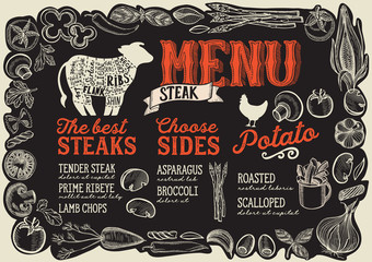 Steak menu for restaurant with frame of graphic vegetables.