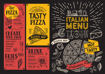 Italian foodrestaurant menu. Pizza flyer for bar and cafe. Design template with vintage hand-drawn illustrations.
