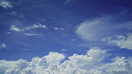 Cloud groups patterns on bright blue sky background on Monsoon season