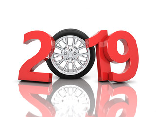 New Year 2019 with Wheel - 3D Rendering Image