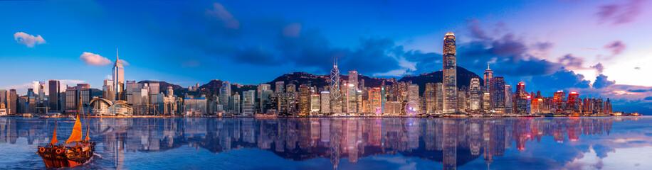 Fotomurales - Panorama view of Hong Kong Victoria Harbor in sunset