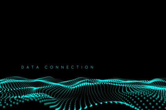 Wave dot connection background. Big data concept