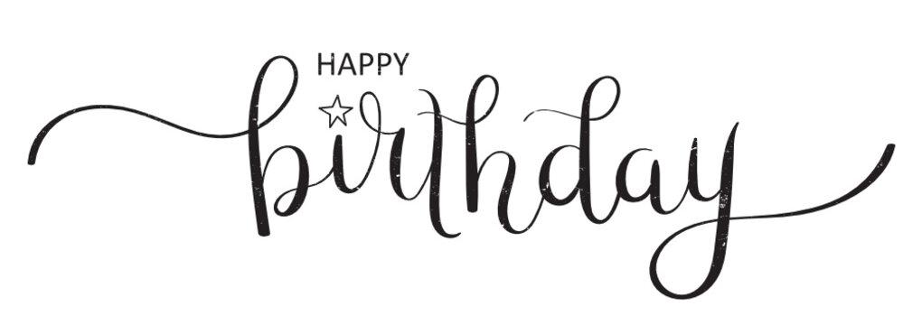HAPPY BIRTHDAY brush calligraphy banner