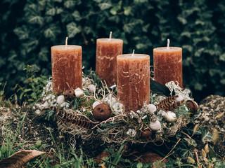 Fototapeta Advent wreath for the pre Christmas time. DIY Christmas decoration. Home decor. DIY advent decoration. obraz
