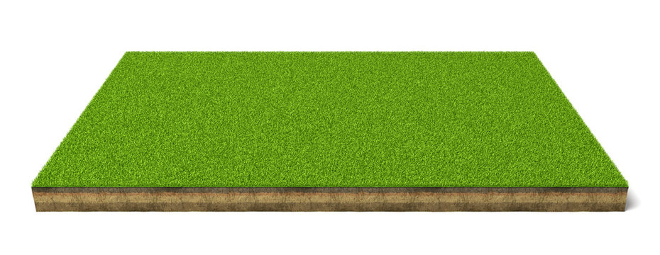 3d rendering of an isolated sports field with green grass on a white background.