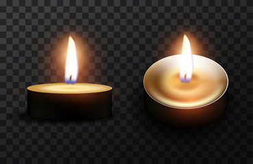 Two burning candles on a checkered background.  High detailed realistic illustration.