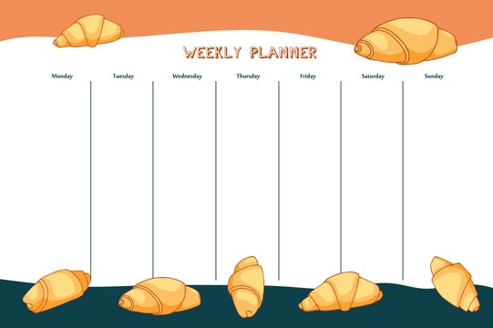 Croissant planner template in hand drawn style.