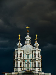 Smolny Cathedral, part of the architectural ensemble of the Smolny Monastery. Saint Petersburg, Russia.
