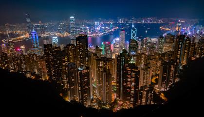Hong Kong, China city skyline viewed from above