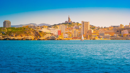Marseille panorama from Frioul archipelago. Marseille, Provence-Alpes-Cote d'Azur, France.