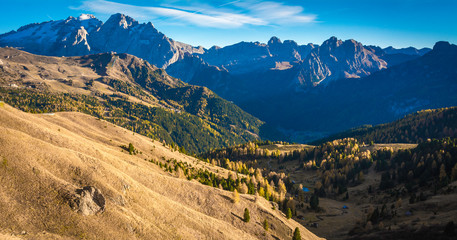 autumn landscape in Gardena Valley with a trees in autumn colors. Location National Park Dolomiti, South Tyrol, province of Bolzano, Italy, Europe