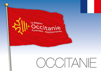 Occitanie regional flag, France, vector illustration
