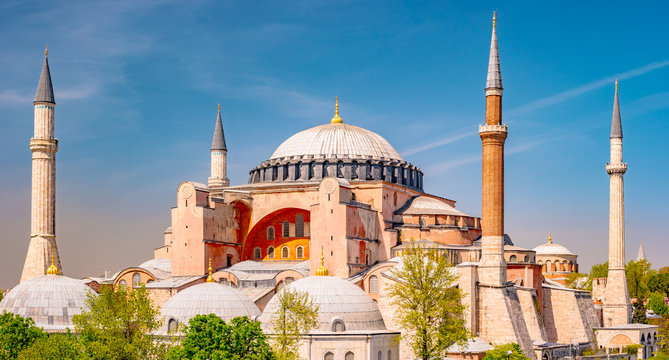 Hagia Sophia in summer, Istanbul, Turkey. Hagia Sophia or Ayasofya is one of the best-known sights of the city.