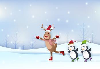 Deer and penguin skating in winter season paper art, paper craft style illustration