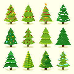 Winter colorful cartoon Christmas tree vector set. Tree christmas for holiday, green pine with garland illustration