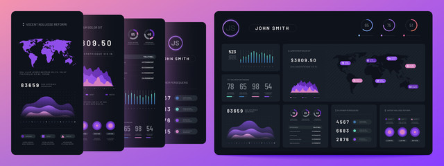 Digital dashboards. Mobile business bar graph and histogram, economic diagram and pie charts. Marketing infographics vector elements. Ui panel interface for smartphone and tablet illustration
