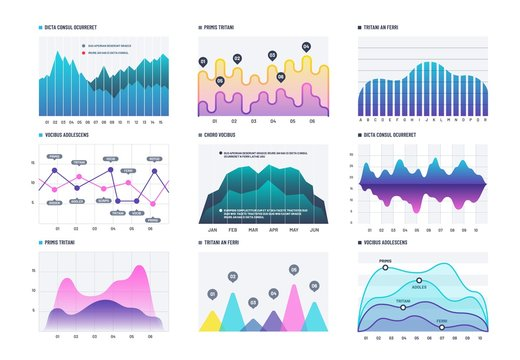 Infographic diagram. Statistics bar graphs, economic diagrams and stock charts. Marketing infographics vector elements. Business chart diagram, graph line curve, wave up and down figure illustration