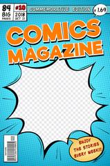 Comic book cover. Retro cartoon comics magazine. Vector template in pop art style. Magazine cartoon book, commemorative edition illustration