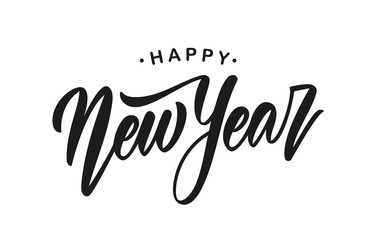Vector illustration. Handwritten modern brush lettering of Happy New Year isolated on white background