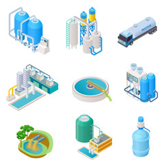 Water purification technology. Isometric treatment water industrial system, wastewater separator vector isolated set. Isometric purification and separator water, reservoir equipment illustration