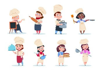 Cook kids. Cartoon chief children preparation meal. Cooking class vector set. Illustration of chief child, kids with food