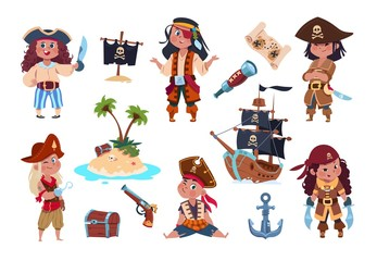 Pirate characters. Cartoon kids pirates, sailors and captain vector isolated set. Captain and sailor pirate, boy with sword and hook illustration