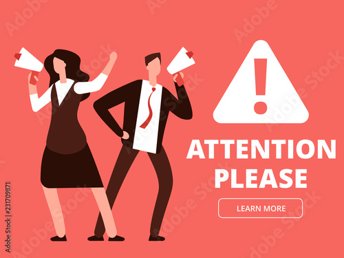 Attention Vector Banner Or Web Page Template With Cartoon Man And Woman Megaphones Ilration Of Please Megaphone Message