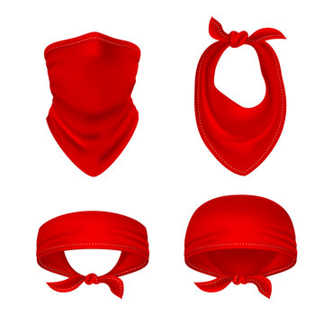 Red bandana. Cowboy or biker face scarf, bandanna neck shawl. Blank handkerchief unisex uniform. Western clothes isolated vector set. Illustration of bandanna scarf, bandana unisex for neck biker