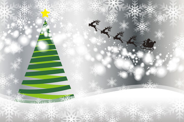 背景素材,ツリー,ホワイトクリスマス,サンタクロースのソリ,雪の結晶,冬のイベント,メリークリスマス