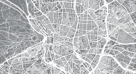Urban vector city map of Madrid, Spain