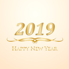 2019 Happy New Year. Golden vector text